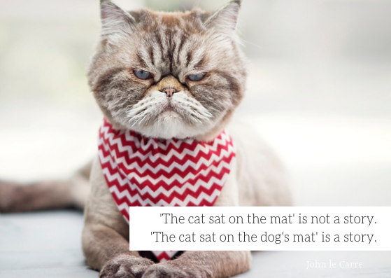 'The cat sat on the mat' is not a story. 'The cat sat on the dog's mat' is a story.